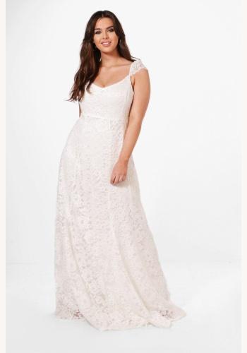 912d3ca46e8f Plus biele dlhé čipkované šaty na ramienka 428BHa