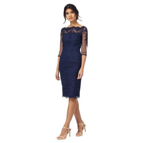Tmavomodré midi čipkované šaty s 3 4 rukávom 188Ca e81d5f07625