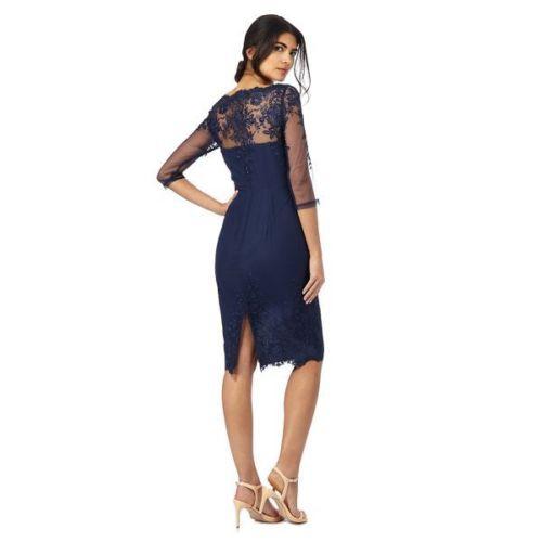 Tmavomodré midi čipkované šaty s 3 4 rukávom 188Ca 25379861c53
