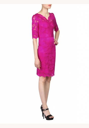 8b5bb2b3f9b4 Ružové midi čipkované šaty s výstrihom a krátkym rukávom 190JMa