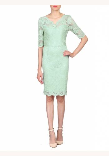 726d5eea506d Svetlozelené midi čipkované šaty s výstrihom a krátkym rukávom 190JMb