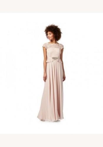0cff5efa1538 Jenny Packham ružové dlhé čipkované šaty s krátkym rukávom 411JP