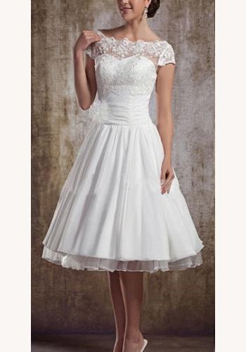3a3d8ec3e3fa Biele midi svadobné šaty s čipkou s krátkym rukávom 168E