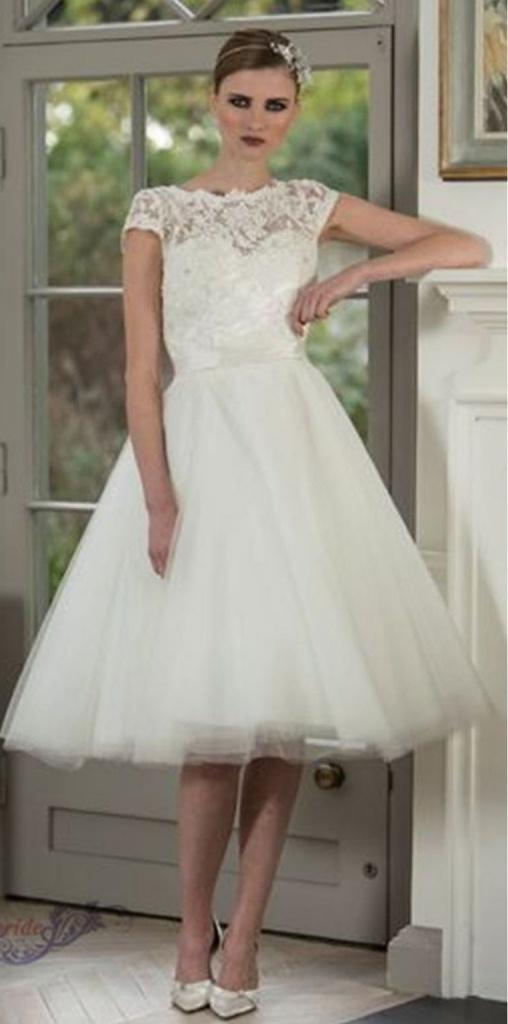 Biele midi svadobné šaty s čipkou s krátkym rukávom 169 cb303d66bf5