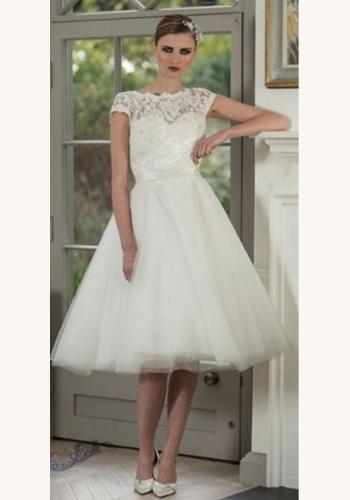 74b7db574e9d Biele smotanové midi svadobné šaty s čipkou s krátkym rukávom 169E