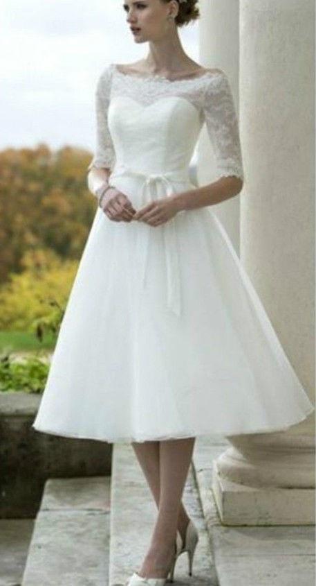 Biele midi svadobné šaty s čipkou s 1 2 rukávom 170 22fc55ac0c8