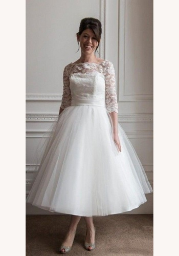 aa085e5321cc Biele midi svadobné šaty s čipkou s 3 4 rukávom 173