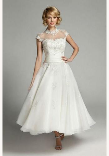 b49c99c8eb7c Biele midi svadobné šaty s čipkou s krátkym rukávom 175