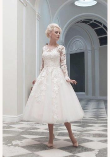 fce87cd35bbf Biele midi svadobné čipkované šaty s dlhým rukávom 177