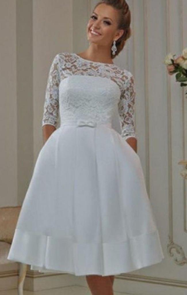 b585c476a786 Biele midi svadobné šaty s vreckami s čipkou s 3 4 rukávom 184 ...