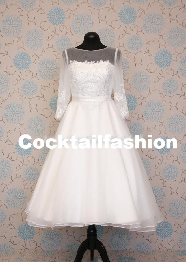 3a22af40c06b Biele midi svadobné šaty s čipkou s 3 4 rukávom 187 - Salón Emily