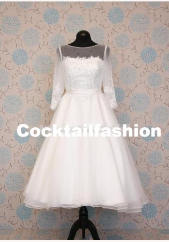 2342c616b075 Biele midi svadobné šaty s čipkou s 3 4 rukávom 187