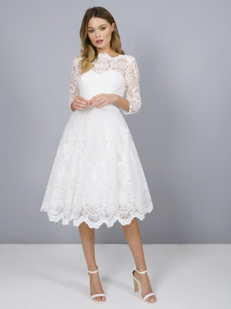 fb0ba04257d0 Biele midi čipkované šaty s 3 4 rukávom 191C - Salón Emily