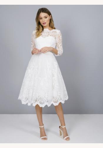 2fc1c77a3c8d Biele midi čipkované šaty s 3 4 rukávom 191C