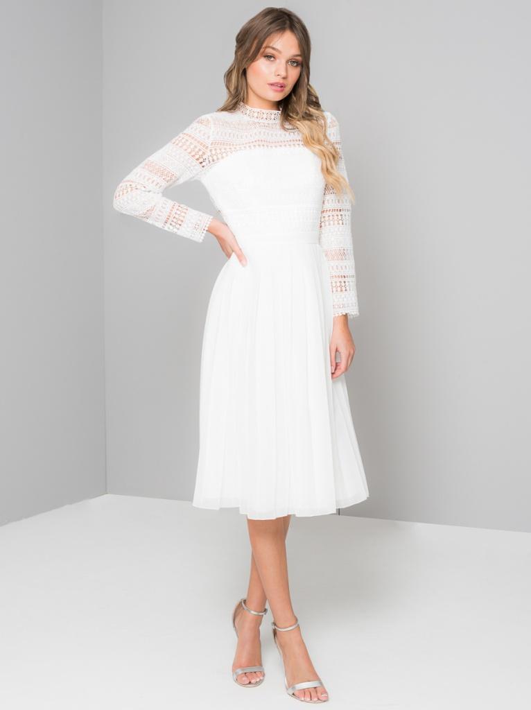 dec8abd95 Biele midi šaty s golierikom s dlhým rukávom 192 - Salón Emily
