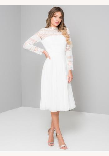 96589e086184 Biele midi šaty s golierikom s dlhým rukávom 192