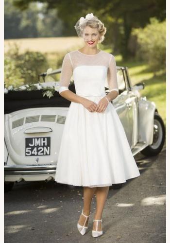 1b32a9941938 Biele midi svadobné šaty bez výstrihu s 1 2 rukávom 193