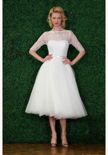 f58e7b1b92a9 Biele midi svadobné šaty bez výstrihu s čipkou s 1 2 rukávom 196