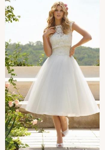341186df673b Biele midi svadobné šaty s čipkovaným topom bez výstrihu a rukávov 197
