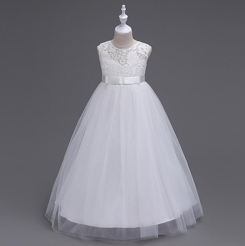 1827068123ac Biele dlhé šaty na 1. sväté prijímanie s čipkou bez rukávov 035 ...
