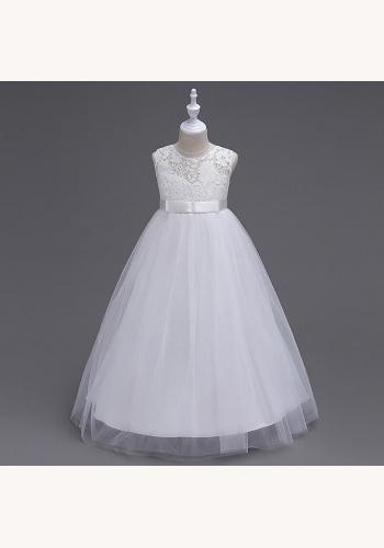 Biele dlhé šaty na 1. sväté prijímanie s čipkou bez rukávov 035 f0aed320516