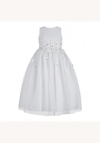 Biele dlhé šaty na 1. sväté prijímanie s kvietkami bez rukávov 037 61e296c02e1