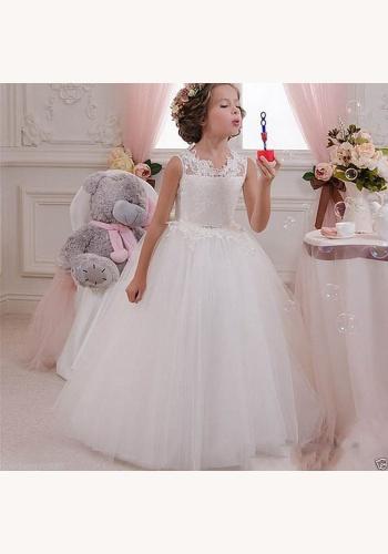 Biele dlhé šaty na 1. sväté prijímanie s čipkou bez rukávov 044 54b7ee02564