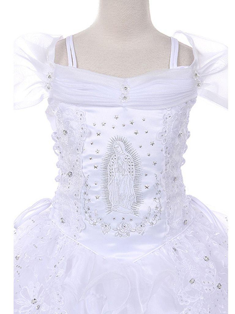 f14337647ac8 Biele dlhé šaty na 1. sväté prijímanie s výšivkou Panny Márie s krátkym  rukávom 048JFGD