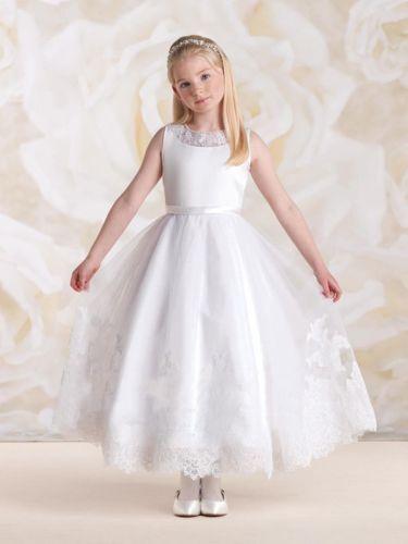 004e893a01bf Biele dlhé šaty na 1. sväté prijímanie s čipkou bez rukávov 050 ...