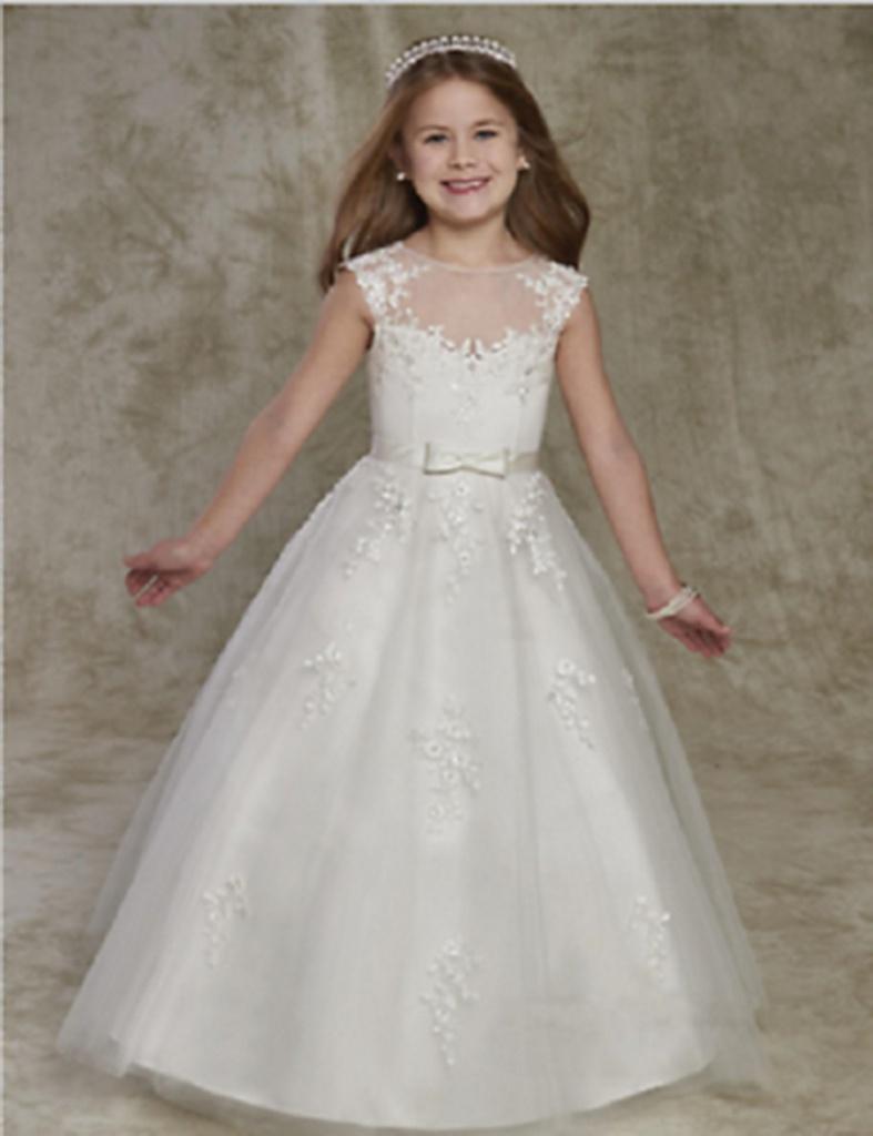 11ee6c3faf75 Biele dlhé šaty na 1. sväté prijímanie s čipkou bez rukávov 054 ...