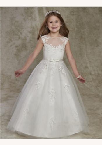 Biele dlhé šaty na 1. sväté prijímanie s čipkou bez rukávov 054 c3de55ae3bc