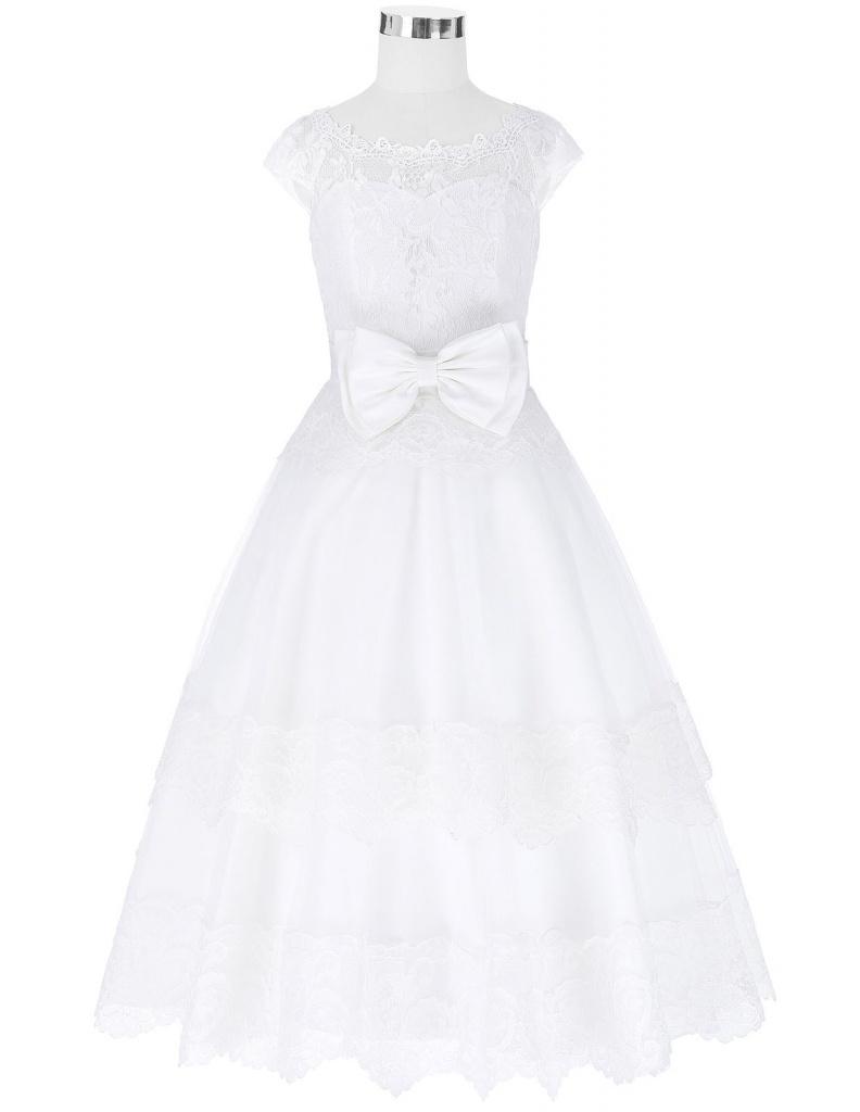 ecaec8de7004 Biele dlhé šaty na 1. sväté prijímanie s čipkou bez rukávov 058 ...