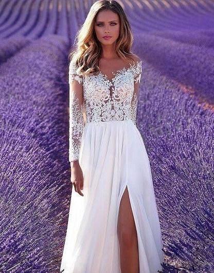aaf7687e6eb8 Biele dlhé svadobné šaty s čipkou s dlhým rukávom 198 - Salón Emily