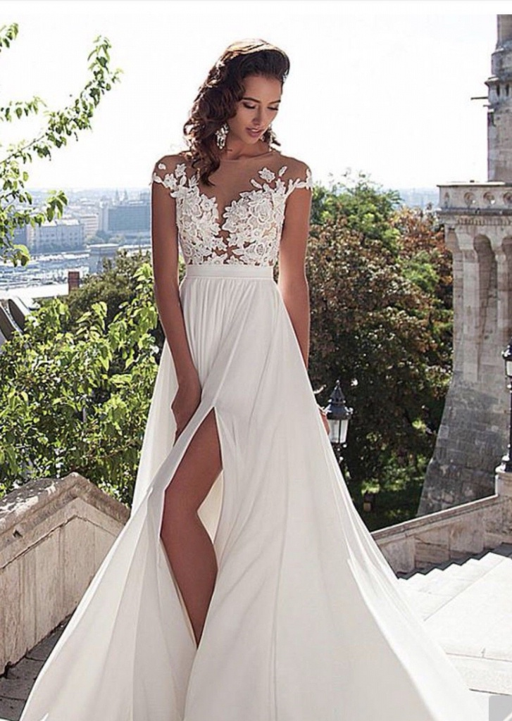 Biele dlhé svadobné šaty s čipkou s krátkym rukávom 199 c941150d8b9
