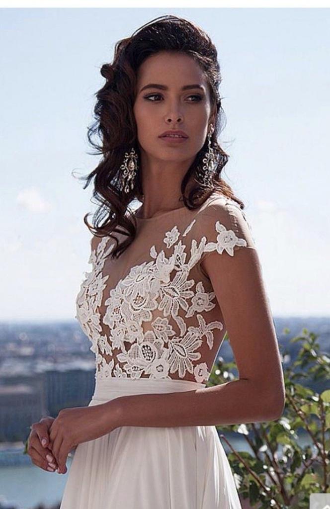 Biele dlhé svadobné šaty s čipkou s krátkym rukávom 199 da894f42a9a