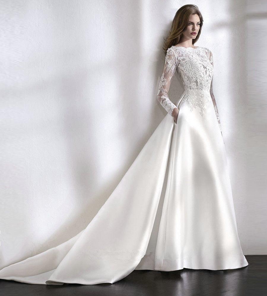 Biele dlhé svadobné šaty s čipkou s dlhým rukávom 200 a8b2cd6d51e