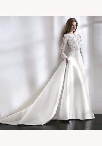 e17f9eada89d Biele dlhé svadobné šaty s čipkou s dlhým rukávom 200SP