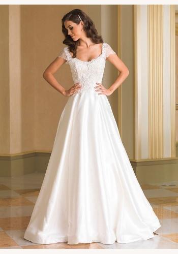 6946073cafd3 Biele dlhé svadobné šaty na šnurovačku s krátkym rukávom 202