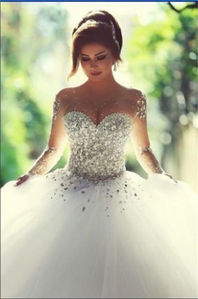 0e0c773d7b07 Biele dlhé svadobné šaty s kamienkami s 3 4 rukávom 206 - Salón Emily