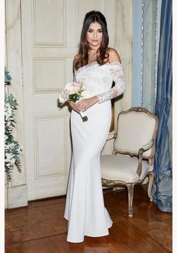 Biele dlhé svadobné čipkované šaty s dlhým rukávom morská panna 208 f0d5b5c48f6