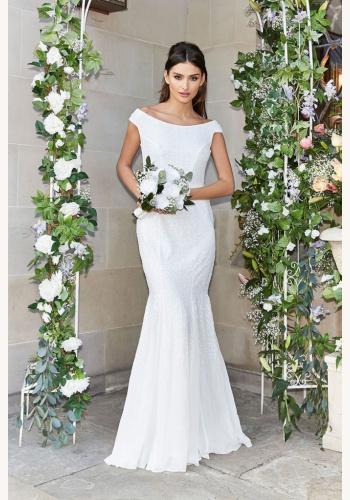 faab209f3acd Biele dlhé svadobné flitrované šaty bez rukávov morská panna 209
