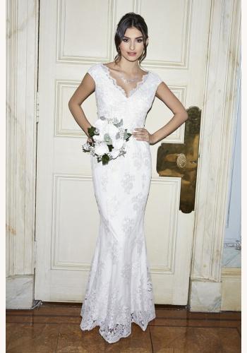 Biele dlhé svadobné čipkované šaty bez rukávov morská panna 212Q 9f55712f933