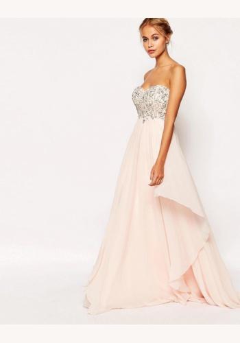 8d387ce6cd5c Ružové dlhé korzetové šaty s kamienkami 432AR