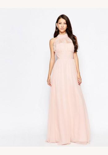 dd9edb06e585 Ružové dlhé šaty s čipkou bez rukávov 434ARa