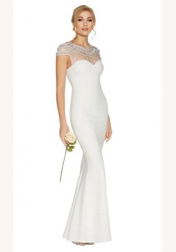 2704bc1de7f8 Biele dlhé šaty s kamienkami morská panna 431Q