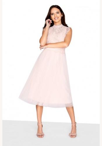 3c826d551e78 Krémové midi šaty s čipkou bez rukávov 194