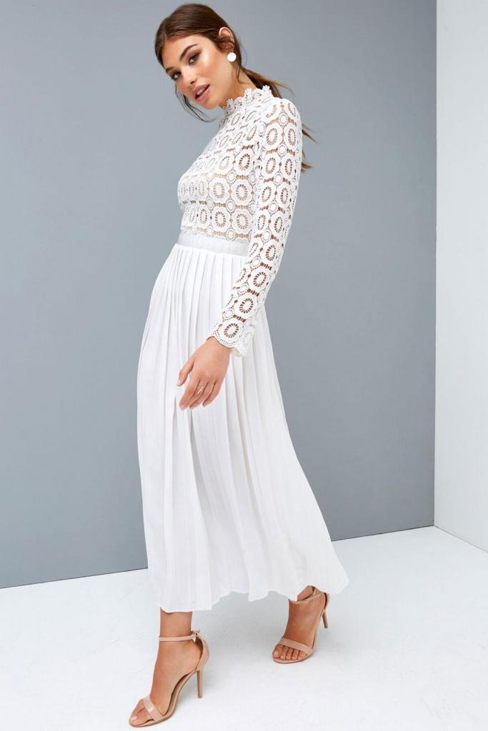 cea537cd6 Biele midi šaty so skladanou sukňou s dlhým rukávom 197L - Salón Emily