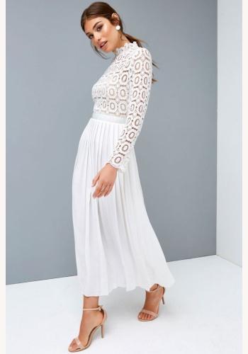 53430c2ca37d Biele midi šaty so skladanou sukňou s dlhým rukávom 197L