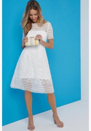 866fc355d442 Biele midi šaty s krátkym rukávom 198