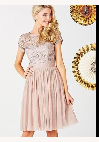 Béžové midi šaty s čipkou s krátkym rukávom 200 e97853606ed